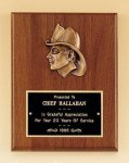 Fireman Award with Antique Bronze Finish Casting. Cast Relief Plaques