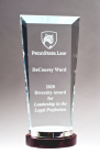 Premium Series Glass Award with Rosewood and Aluminum Base Clear Glass Awards