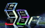 Slanted Hex Paper Weight Acrylic Award Colored Acrylic Awards