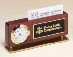 Rosewood Piano Finish Clock With Business Card Holder Desk Wedge Name Plates