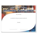Academic Excellence Certificate Awards Fill in the Blank Certificates