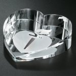 Slant Heart Paperweight Paper Weight Crystal Awards
