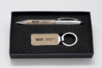 Taupe Leather Gift Pen and Key Ring Pens and Pencils
