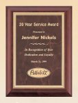 Cherry Finish Wood Plaque with Ruby Marble Plate Recognition Plaques