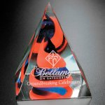 Swirl Pyramid - Red/Blue Red Glass Awards