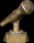 Gold Microphone Award Resin Trophies