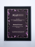 Violet Marble Plate on Black High Gloss Plaque Square Rectangle Awards